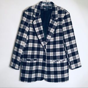 VINTAGE Plaid 100% Wool Oversized Blazer Jacket